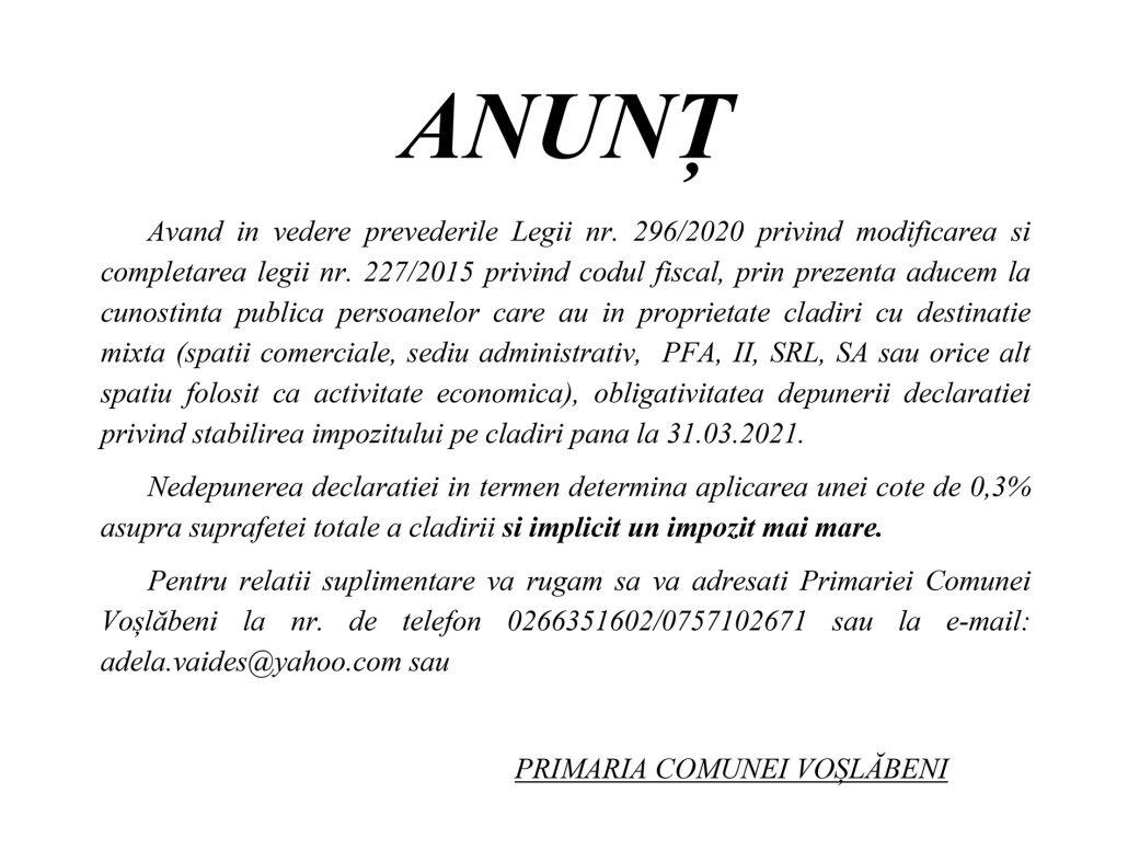 anunt impozit