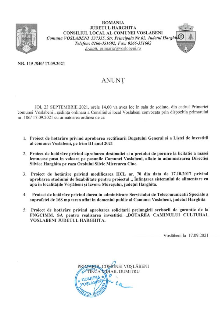 anunt sedinta Consiliul local 23.09